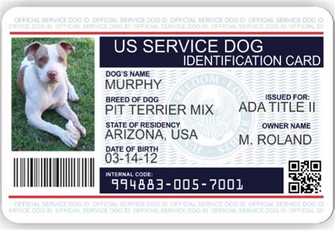 Animal Id Card Template by Official Emotional Support Vest Service Vest And