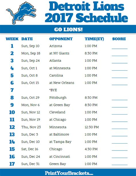 printable nfl season schedule 2017 detroit lions football schedule printable nfl