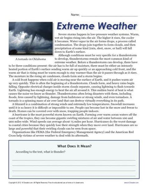 Reading Comprehension Worksheets For 6th Grade by Sixth Grade Reading Comprehension Worksheet Weather