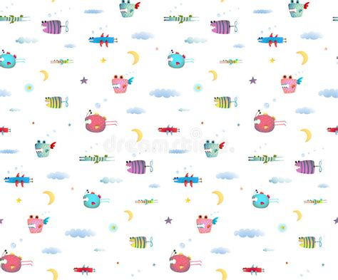 cute kid pattern monster fly fish seamless pattern for kids design