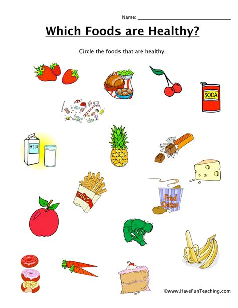 Healthy Food Worksheets by Which Foods Are Healthy Worksheet