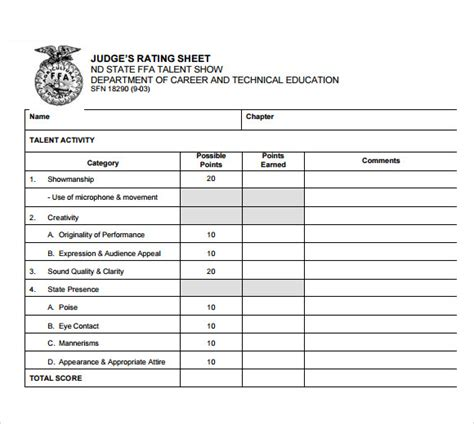 judging card template 9 sle talent show score sheets pdf word pages