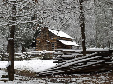 Cabin In Snow by Oliver Cabin In The Snow Photograph By Terena Boone