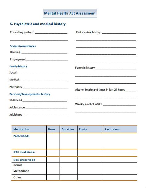 mental health assessment template best photos of mental