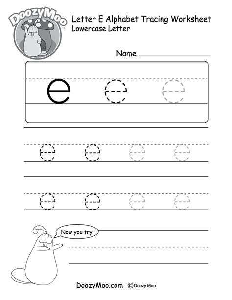 alphabet worksheets letter e lowercase letter quot e quot tracing worksheet doozy moo