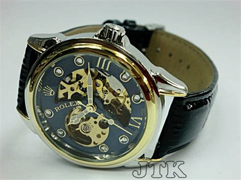 Ready Jam Tangan Pria Rolex Skeleton Leather Brown Kombi Plat jam tangan rolex skeleton the king ring gold leather rp