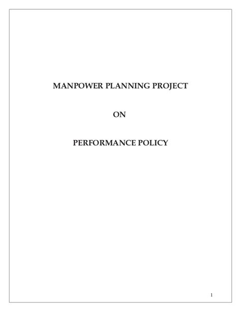 Mba Project Report On Manpower Planning by Manpower Planning Project