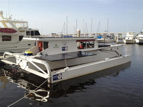 electric motor boat project information solar boat quot ra quot stops in fort myers solar southwest florida
