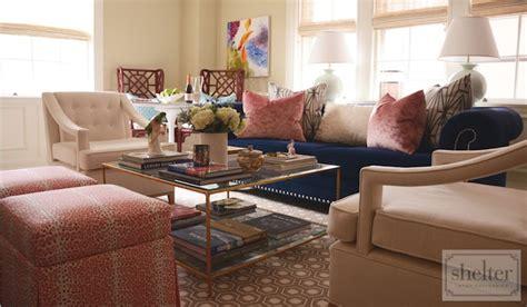 Shelter Interior Design blue chesterfield sofa contemporary living room