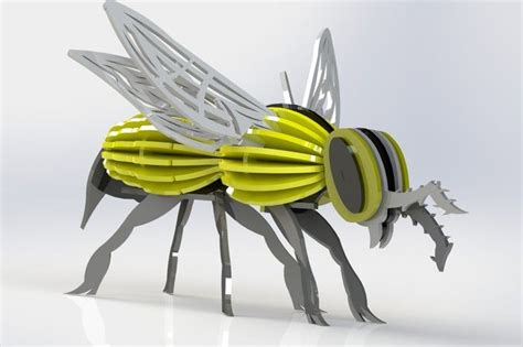 3d Metal Puzzle Bumblebee pin by oz on laser cutting 3d