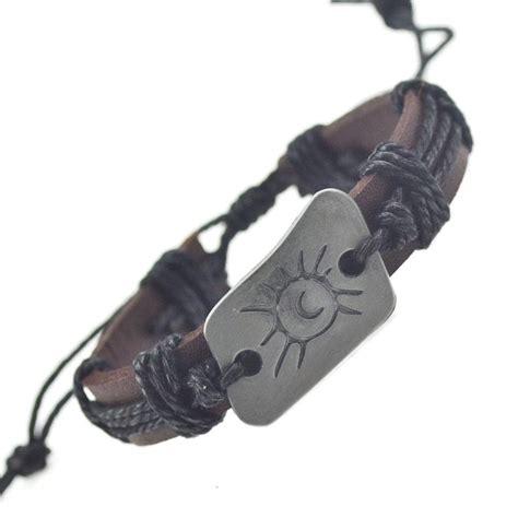 Handmade Bracelets Australia - handmade pu leather bracelet sun tribal bohemian lb 026