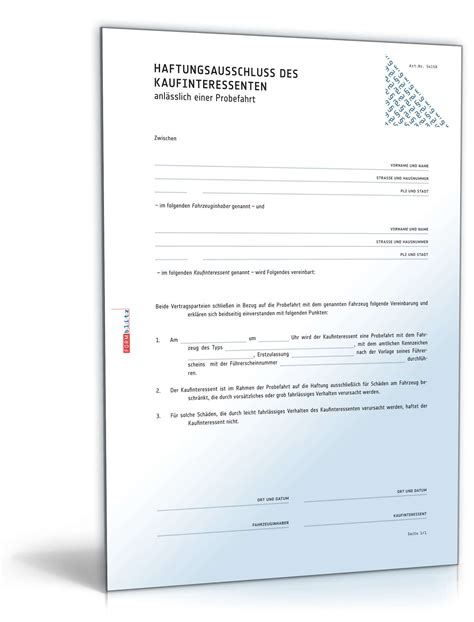 Musterbrief Kfz Versicherung Unfall Haftungsausschluss Bei Probefahrten Muster Zum