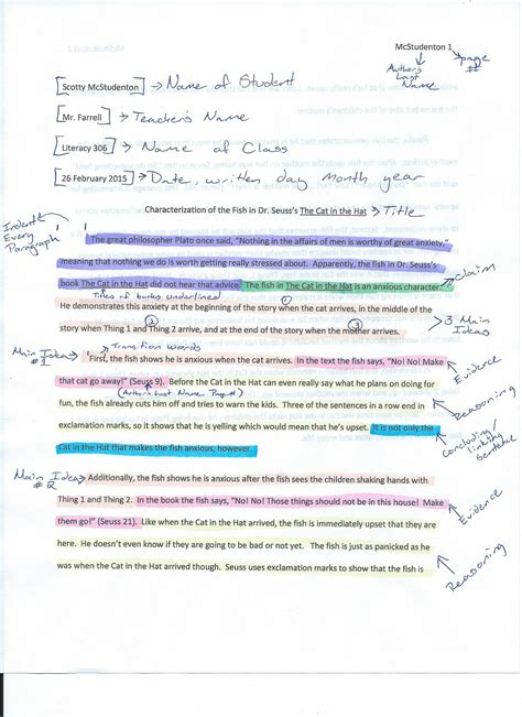 Annotated Essay by Writing Editing Resources Mr Farrell S Classroom Website