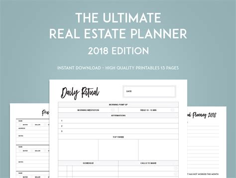 The Ultimate Real Estate Goal Planner Sweet Paper Trail Real Estate Daily Planner Template