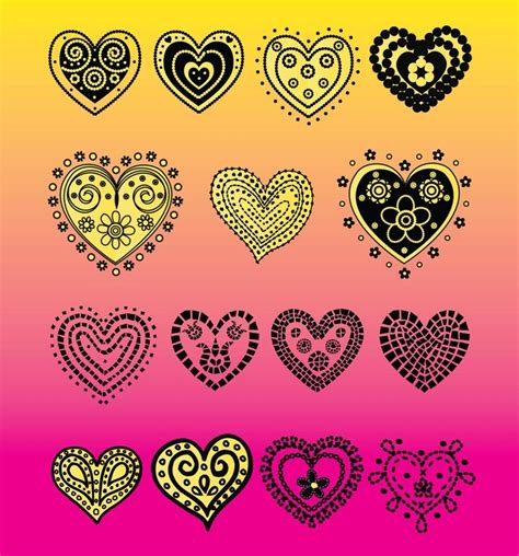 free doodle hearts vector doodles vector free