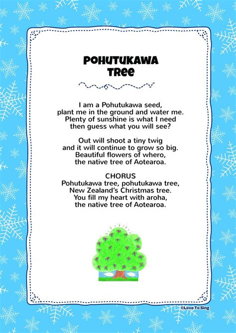 christmas tree songs for kids pohutukawa tree song with free lyrics activities cards