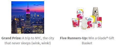 Glade Sweepstakes - 1 1 glade coupon enter to win a trip to new york city deal mama