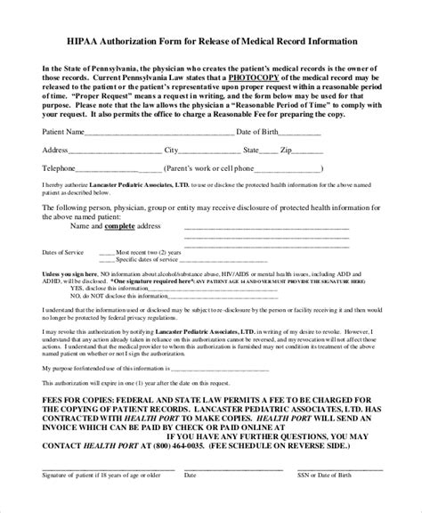Hipaa Records Release Form Template 8 Sle Hipaa Release Forms Sle Templates