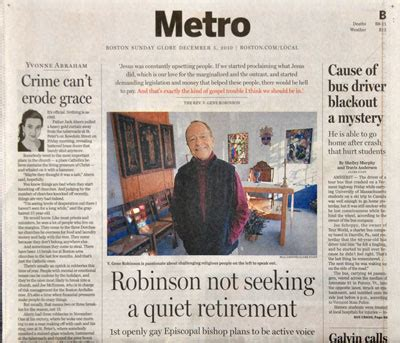 boston globe metro section boston globe portrays homosexual episcopal bishop as