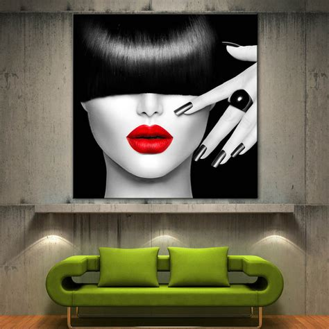 paintings for home decoration red lips face modern canvas home fine wall art prints