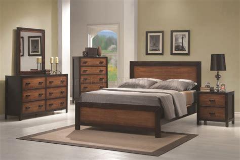 oak cappuccino two tone finish contemporary bedroom w