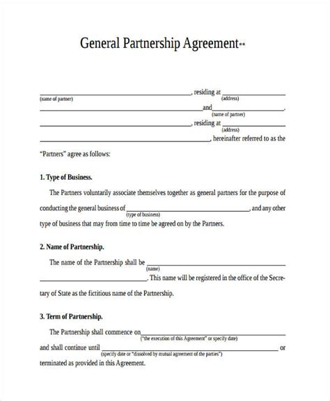 49 Exles Of Partnership Agreements Simple General Partnership Agreement Template