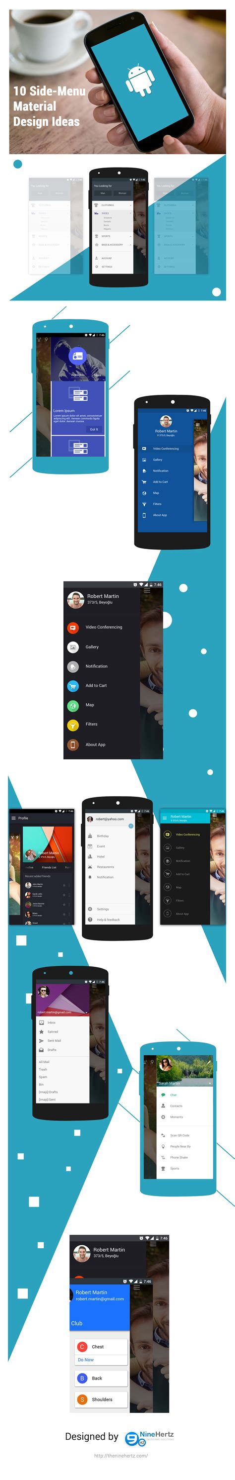 material design ideas 10 side menu material design ui ideas