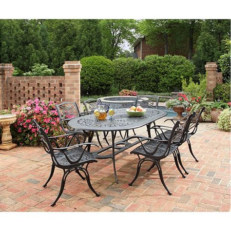 Overstock Patio Dining Sets Home Styles Malibu Cast Aluminum Black 7 Outdoor Dining Set Overstock Shopping Big