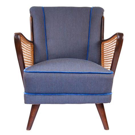 denim armchair bespoke midcentury armchair in denim velvet by galapagos