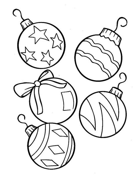 christmas tree ornaments coloring template coloring pages