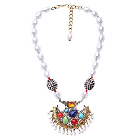 Acc548 Necklace Colorfull Big simulated pearl beaded chain necklace ethnic style colorful gem big pendant necklace