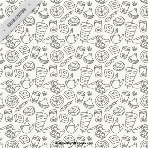 pattern background sketch sketches arabic food pattern vector free download
