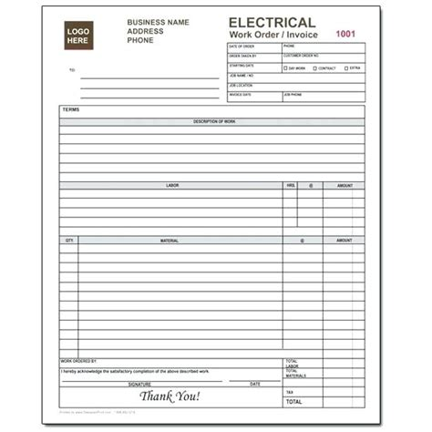 free work order receipt template electrician invoice template electrical invoice forms free