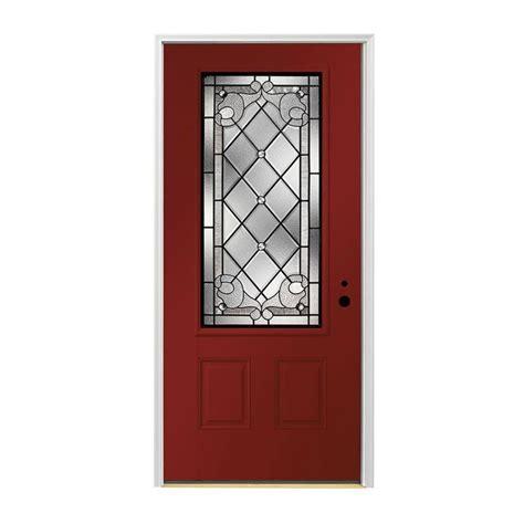 shop pella left inswing painted fiberglass entry door