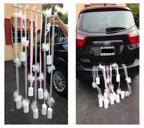 Just Married Car Décor using painted tin cans, tulle