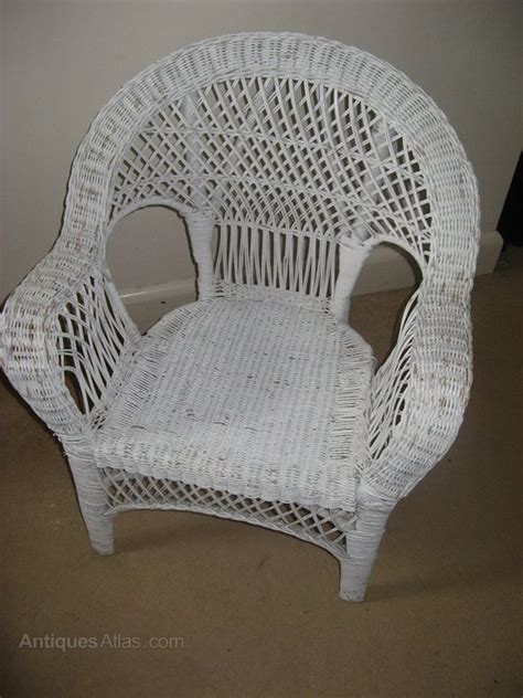 Wicker Armchairs Uk White Painted Wicker Chair Antiques Atlas