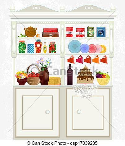 aparador clipart vectores de alimento vendimia aparador retro platos