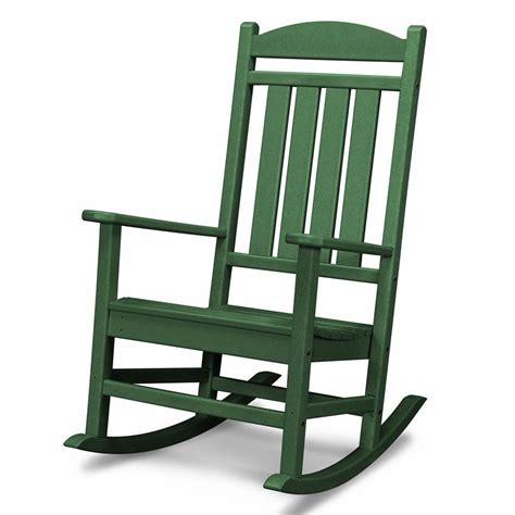 shop polywood presidential green plastic patio rocking chair  lowescom