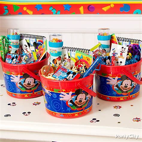 Mickey Mouse Birthday Giveaways - mickey mouse favor bucket idea party city