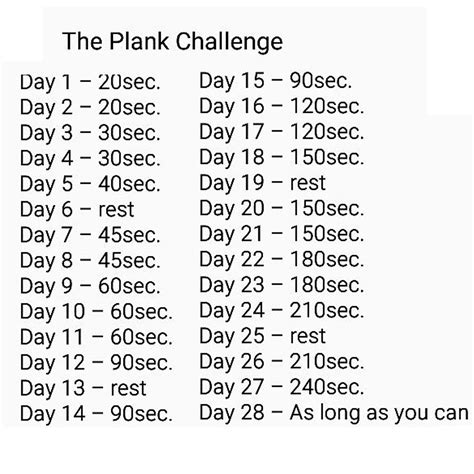 28 day challenge try the 28 day planking challenge