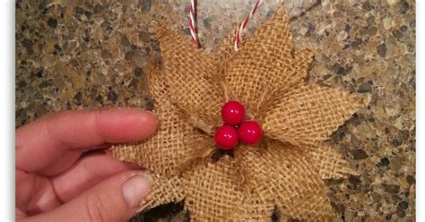 how to make burlap poinsettia christmas ornaments hometalk