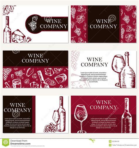 set of six business cards set of six business cards wine company restaurant theme vecto stock vector image 55189418