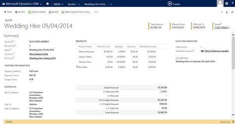 dynamics crm quote template using the print quote for customer functionality and quote