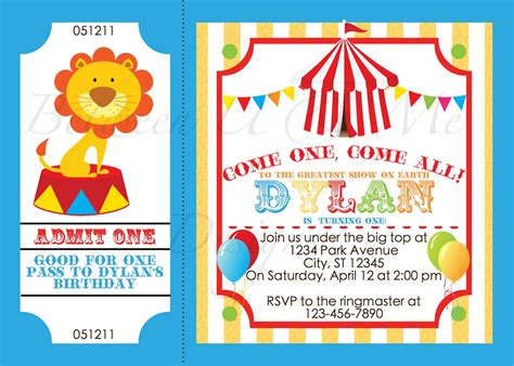 printable birthday invitations carnival theme custom photo circus ticket birthday invitation carnival