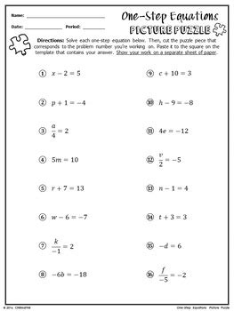 equations puzzle worksheet one step equations picture puzzle by chilimath algebra and more