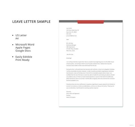 42 Leave Letter Sles Pdf Word Apple Pages Sle Templates Letter Template Mac Pages