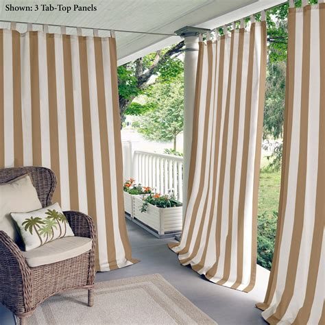 outdoor curtain panels highland stripe light brown indoor outdoor curtain panels