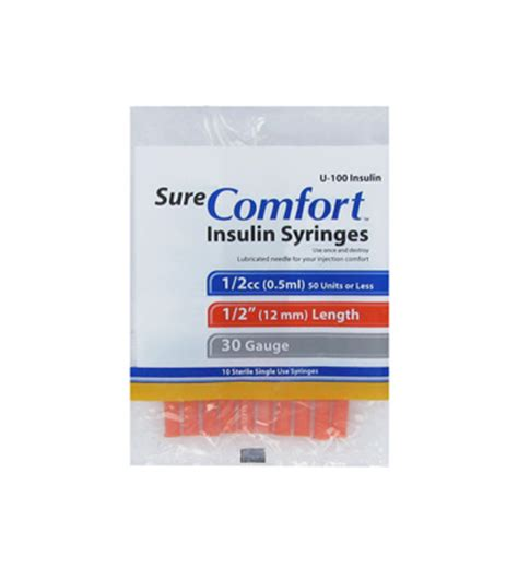 sure comfort syringes 30g 1 2cc 1 2 quot sure comfort insulin syringe 10 each