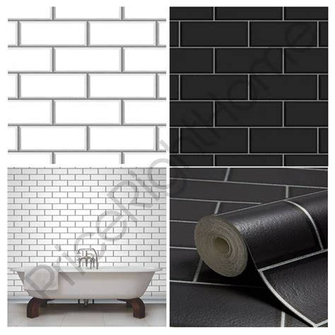 fine decor white ceramica subway tile wallpaper fine decor subway tile effect wallpaper black white