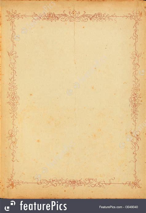 vintage stained paper  floral border image